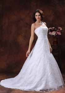 Strapless Wedding Party Dress With Lace Over Shirt