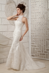Lace Mermaid Appliques Wedding Dress High-neck Brush