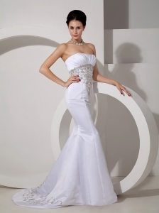 Strapless Mermaid Brush Wedding Dress Embroidery Ruch
