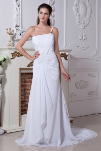 One Shoulder Ruch Wedding Dress Court Chiffon Beading