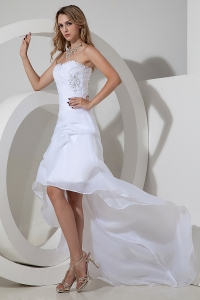 Strapless High-low Wedding Dress Organza Bow Beading
