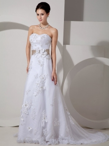 Satin Lace Belt Wedding Dress A-line Court Train