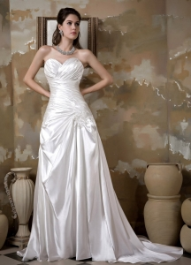 Elastic Wove Satin Appliques Ruch Wedding Dress