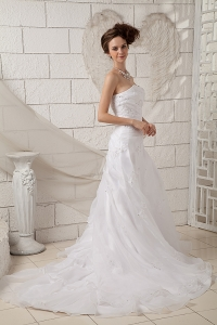 Sweetheart Court Train Organza Appliques Wedding Dress