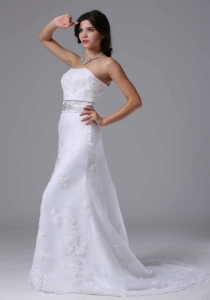 Wedding Dress Beaded and Lace Over Skirt for Church