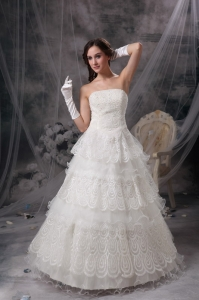 A-line Strapless Ruffled Layeres Lace Wedding Dress