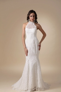 Mermaid Lace Wedding Dress High-neck Brush Taffeta