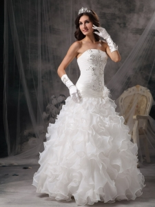 A-line Strapless Organza Beading Wedding Dress Ruffles