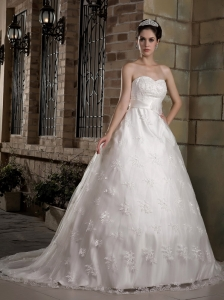 A-line Sweetheart Chapel Train Lace Wedding Gown