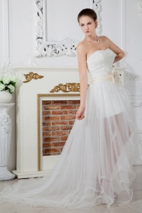 Sweetheart Court Train Organza Beading Wedding Dress