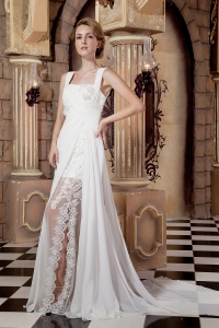 A-line Straps Wedding Dress Watteau Train Chiffon