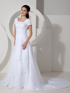 Beading Ruch Wedding Dress Square Satin Court Train