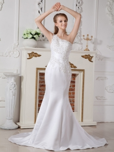 One Shoulder Mermaid Lace Wedding Dress Court Train