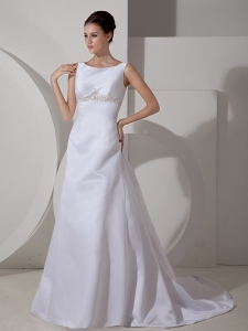 Scoop Court Train Satin Appliques Wedding Dress A-line
