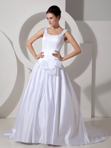 Scoop Court Train Satin Sash Wedding Dress Bowed