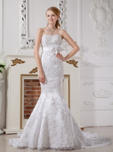 Lace Sash Wedding Dress Mermaid Strapless Court Train