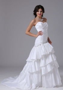 Mermaid Ruched Wedding Dress 2013 Ruffled Layeres