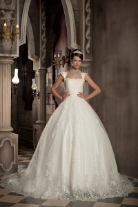 Square Chapel Train Lace Wedding Dress Ball Gown
