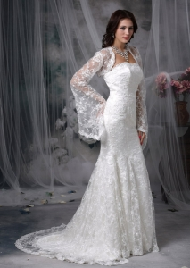 Court Train Lace Wedding Dress Mermaid Strapless