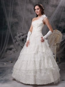 One Shoulder Lace Wedding Dress Hand Made Flowers