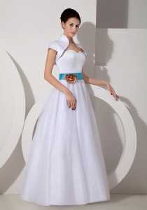 A-line Sweetheart Taffeta Sash Bridal Dress for Wedding