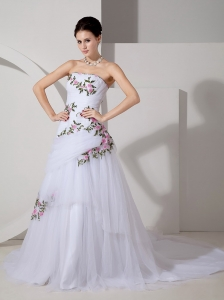 Strapless Court Wedding Dress Tulle Appliques Ruch