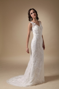 Brush Train Taffeta Lace Wedding Dress Column V-neck