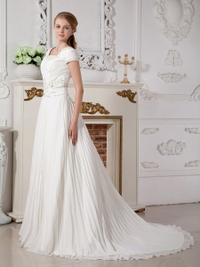Square Court Train Chiffon Beading Bridal Dress