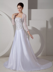 Embroidery Wedding Dress Strapless Court Train Satin