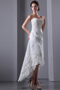 Lace High-low Beach Wedding Dress Strapless Elastic Wove Satin