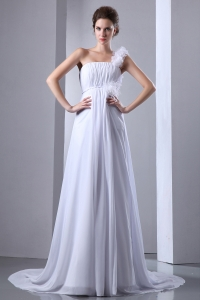 A-line One Shoulder Chiffon Ruch Wedding Dress White