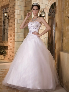 A-line Sweetheart Taffeta Tulle Embroidery Wedding Gown
