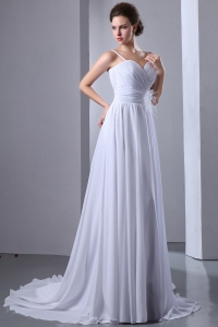 Spaghetti Straps Court Wedding Dress Chiffon Ruch