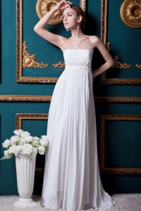 Simple Empire Chiffon Beading and Pleat Wedding Dress