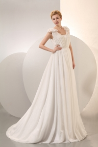 Chiffon Ruch Wedding Dress Empire Straps Court Train