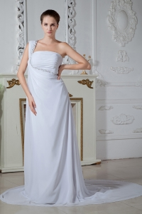 Beading Ruch Bridal Wedding Dress One Shoulder Chiffon