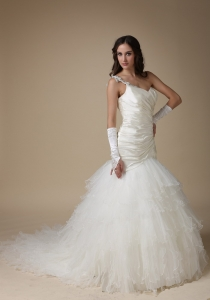 Mermaid One Shoulder Wedding Dress Court Appliques Ruch