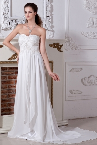 Chiffon Embroidery Beading Wedding Dress Court Train