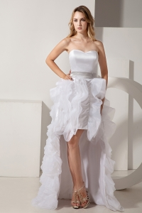 White High-low Ruffles Bridal Dress Satin Organza