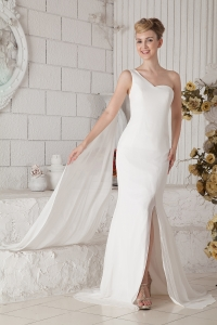 One Shoulder White Wedding Dress Chiffon Beading