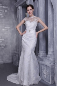 White Mermaid High-neck Lace Wedding Dress Beading