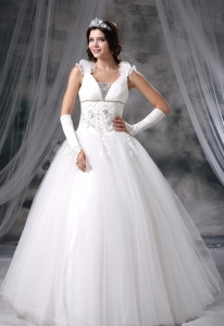 Taffeta Appliques Beading Wedding Dress Sweetheart Chapel