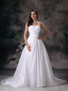 A-line Strapless Court Train Wedding Dress Beading