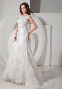 Lace Belt Wedding Dress A-line Square Court Train