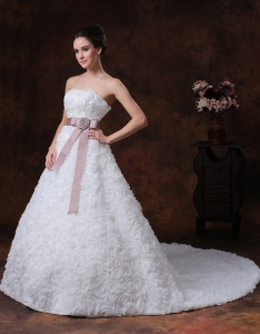 Rolling Flower Wedding Dress strapless chapel Garden