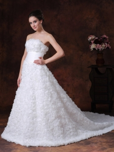Appliques Beading Tulle Wedding Dress Hand Made Flowers