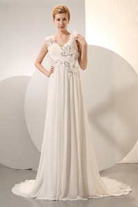 Elegant Wedding Dress V-neck Court Train Chiffon Beading