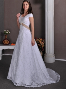 Taffeta and Lace Beading Wedding Dress V-neck Court Train