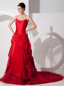 Red Wedding Dress Strapless Court Train Taffeta and Organza