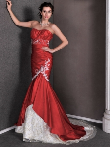 Red Mermaid Wedding Dress Court Train Taffeta Lace Appliques